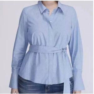 Lane Bryant Blue Hidden Button Long Sleeve Shirt